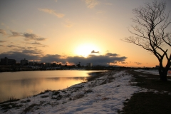 Tama River with Snow
