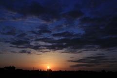 Dark Orange and Blue Sky