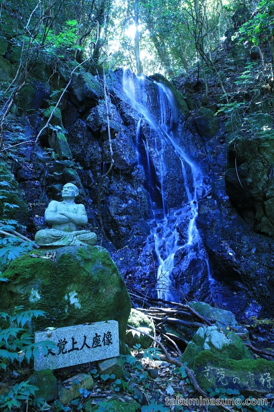 Buddhist Statue and Nabekura-no-taki Waterfall in Sado Island