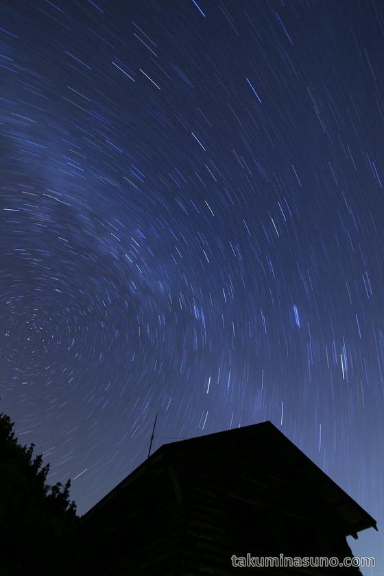 Skyful of stars above the hut at Mt Senjougatake