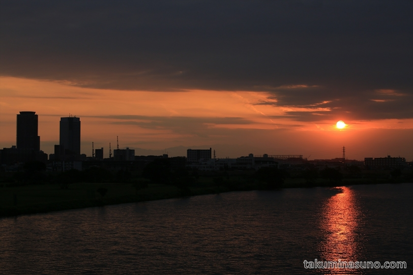 Sunset of Tama River in September 23