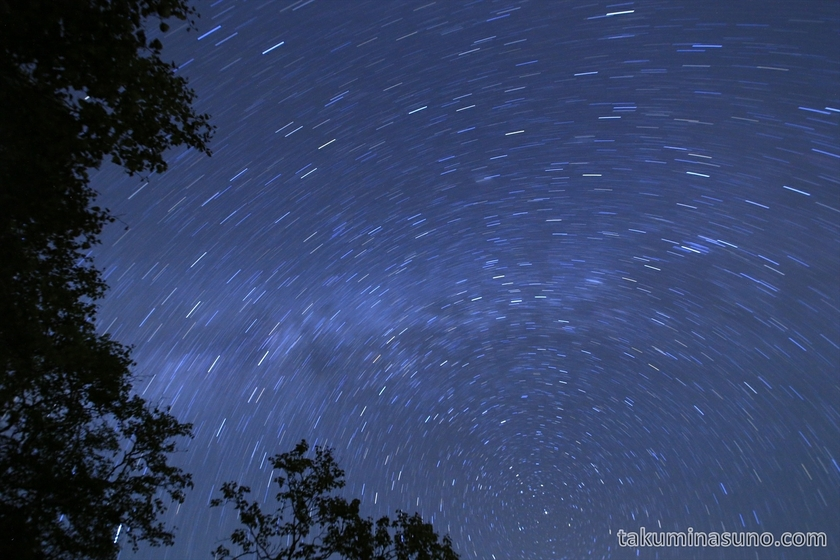 Woods and skyful of stars at Mt Senjougatake