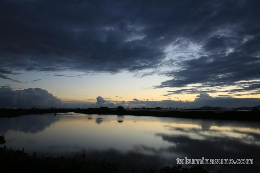 Nightscape of Nakanokuchi River in Niigata