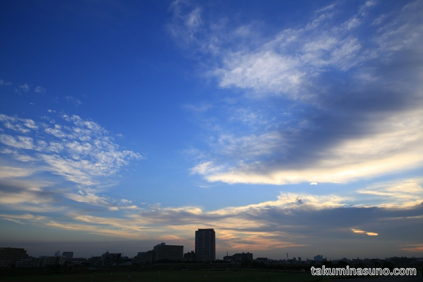 Clouds prevented sunrise from appearing at Tama River