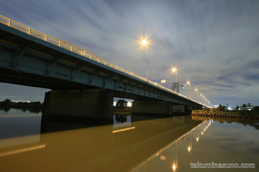 Nightscape of Tamagawa Ohashi Bridge