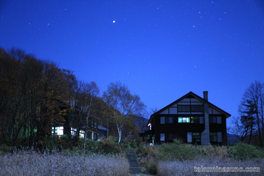 Nightscape of Touden Hut at Ozegahara Marshland