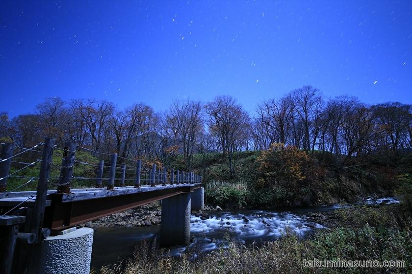 Nightscape of Touden Oze Bridge at Ozegahara Marshland