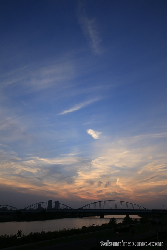 Sunset over Tamagawa Ohashi Bridge
