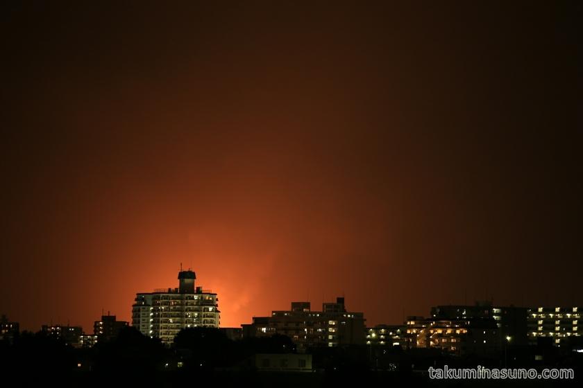 Telephoto of flare stack from Kawasak