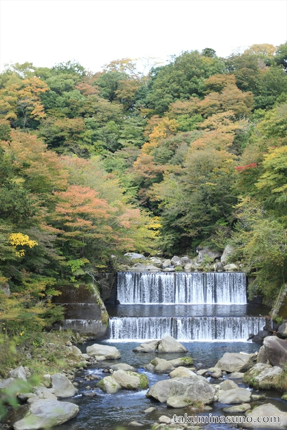 Small waterfall with autumn colors at Hakone