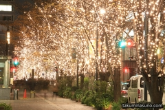 Illuminations Street in Otemachi were Full of People and Cars