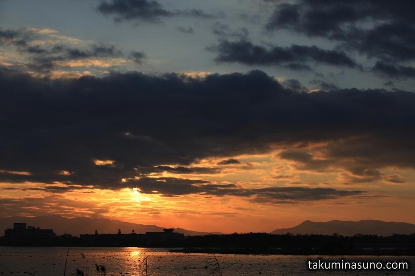 Sunrise of Lake Toyanogata in Niigata