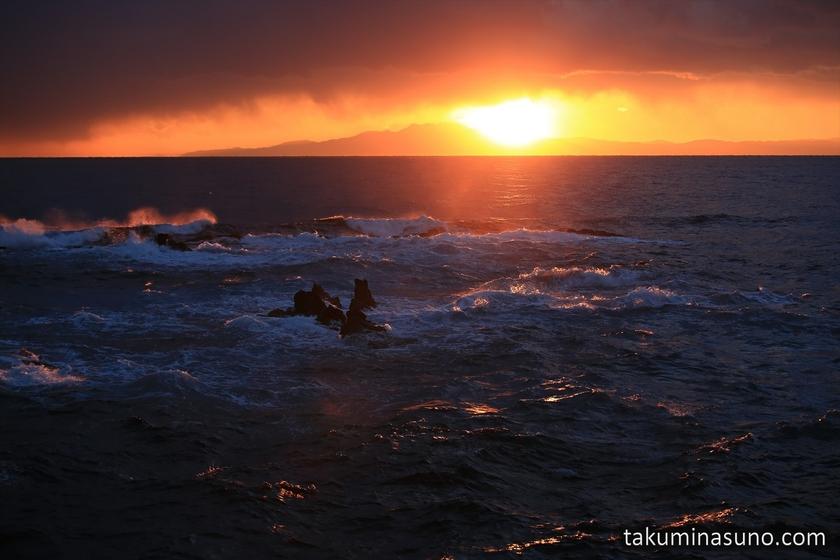 Sunset and White Waves from Jogashima Island