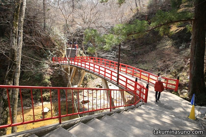 Red Bridge of Yamamoto Fudouson Temple at Tanagura Town