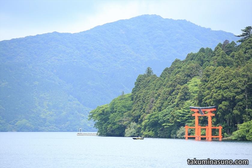 Red Shinto Gate and Lake Ashi of Hakone