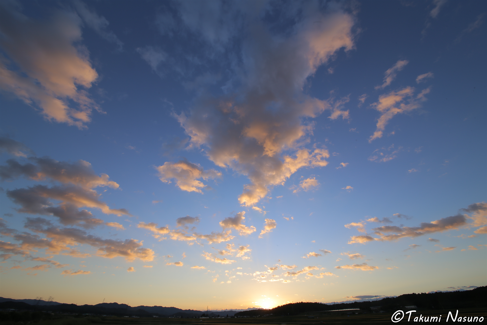 Horizon and Sunset at Yashirogawa District of Tanagura Town