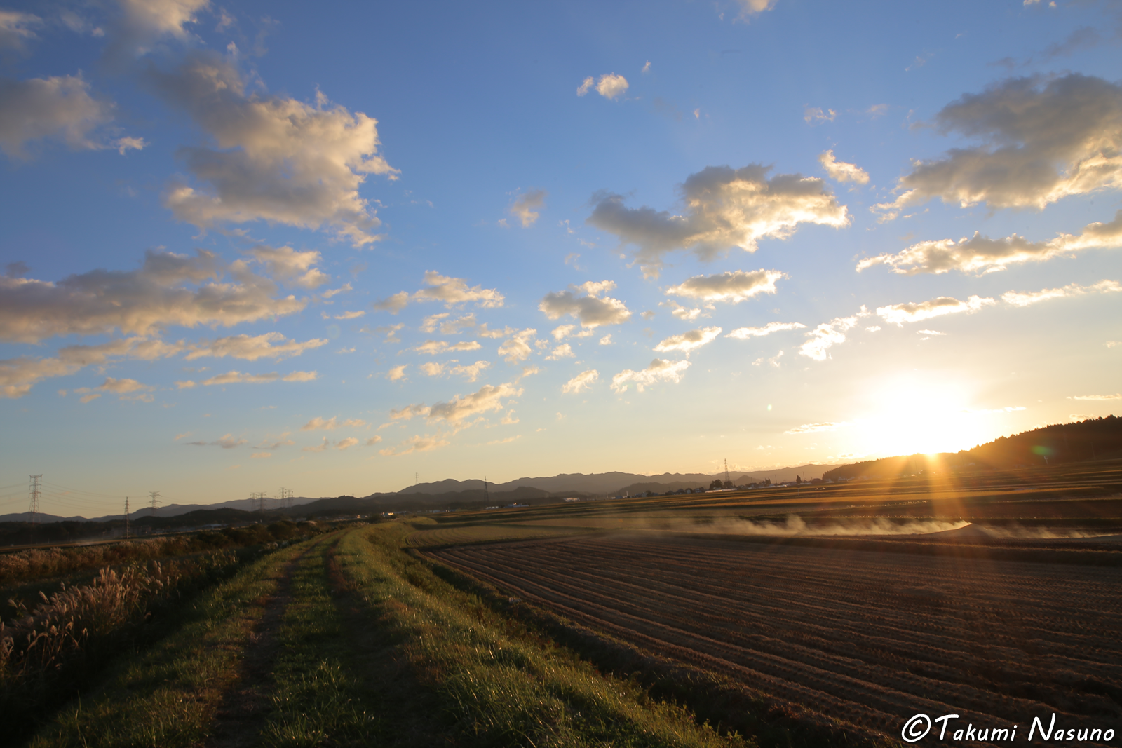 Long-Lasting Road under Sunset at Tanagura Town