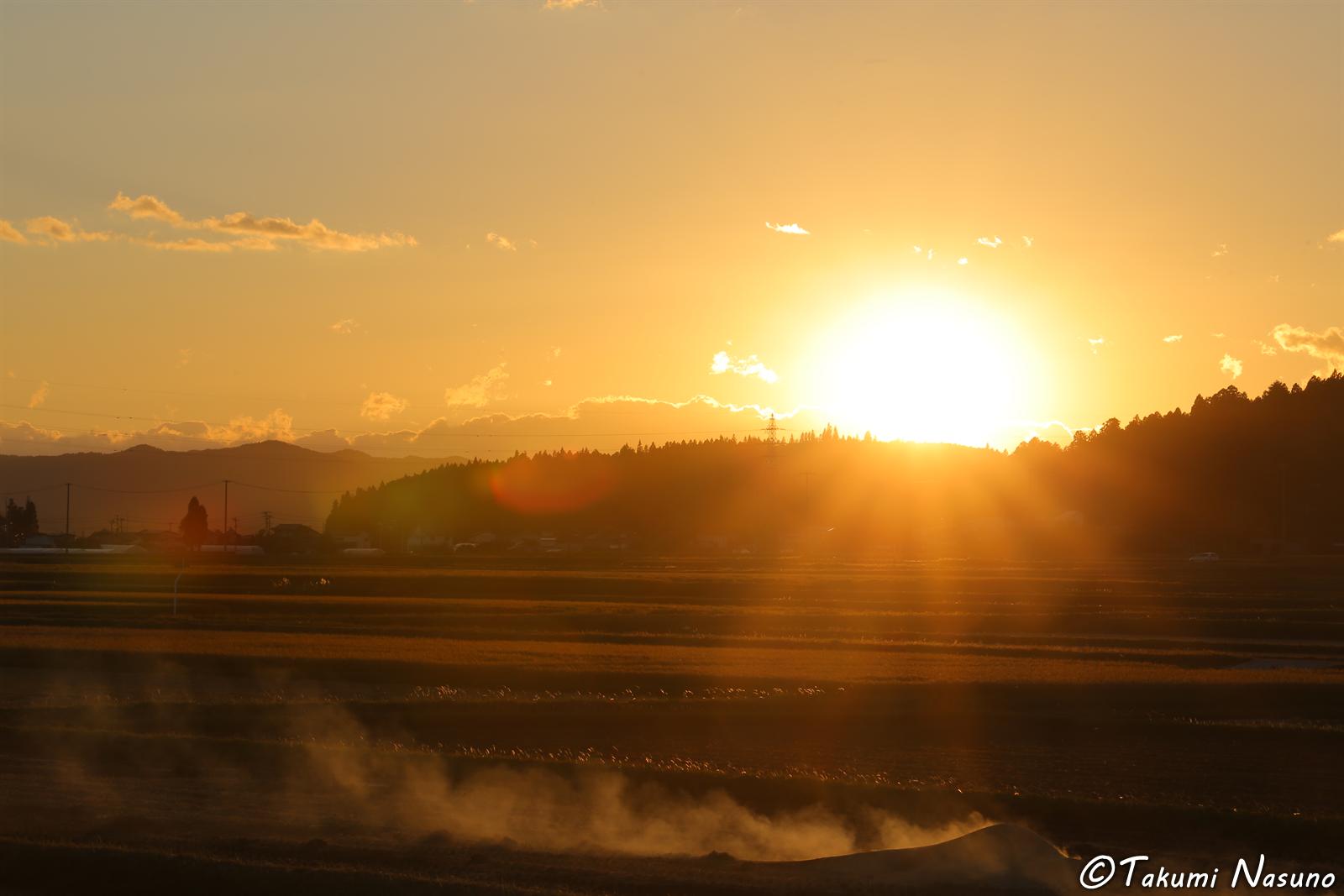 Strong Sunlight at Yashirogawa District of Tanagura Town