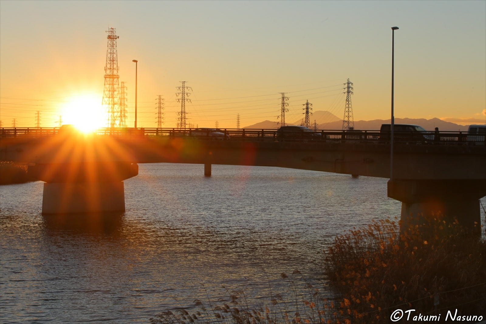 Sunset over Takano Ohashi Bridge