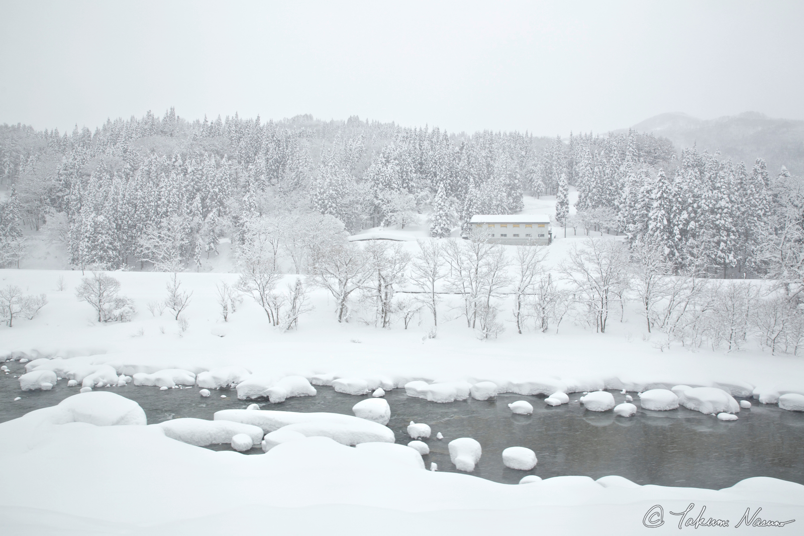 Otari Village - Snowy Hime River and a House