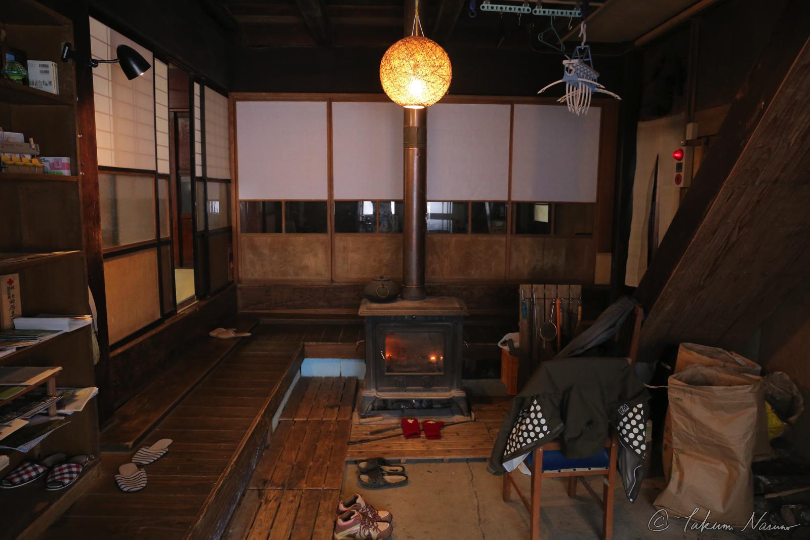 Wood stove of KOZUENOYUKI Guesthouse